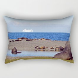 Fur seals with iceberg in the distance Rectangular Pillow