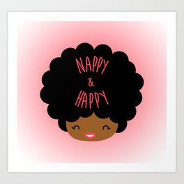 Nappy and Happy Afro Hair Art Print