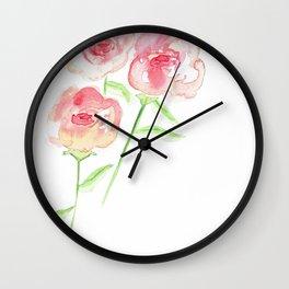 3 Pink Roses Wall Clock