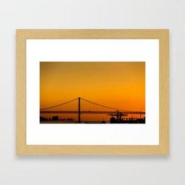 Golden Light on Lisbon Bridge Framed Art Print