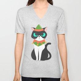 Cat Dressed as a Christmas Elf Unisex V-Neck