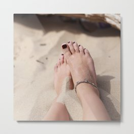 Girl's feet Metal Print