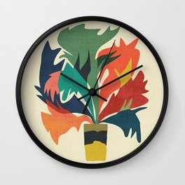 Potted staghorn fern plant Wall Clock