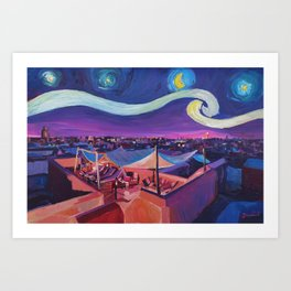 Starry Night in Marrakech   Van Gogh Inspirations on Fna Market Place in Morocco Art Print