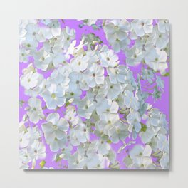 DELICATE LILAC & WHITE LACE FLORAL GARDEN PATTERNS Metal Print