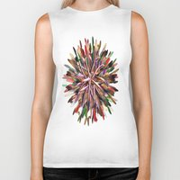 metallic Biker Tanks featuring Metallic Snowflake by Brian Raggatt