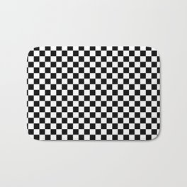Classic Black and White Race Check Checkered Geometric Win Bath Mat