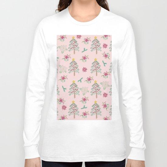 Christmas Pattern Pink Long Sleeve T-shirt