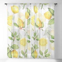 mediterranean summer lemon branches on white Sheer Curtain
