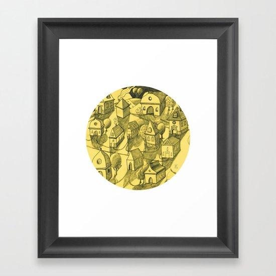 Moonlit Village Framed Art Print