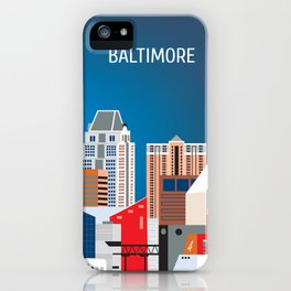 Baltimore, Maryland - Skyline Illustration by Loose Petals iPhone Case