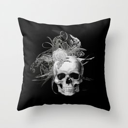 Skull 50 shades of grey black mjvision Mia Niemi Throw Pillow