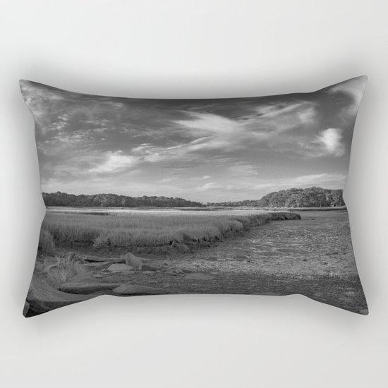 Sky and Marsh Black and white Rectangular Pillow