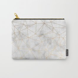 Marble Gold Geometric Texture Carry-All Pouch