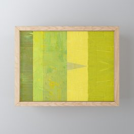 Green and Yellow Collage with Stripes Framed Mini Art Print