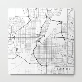 Saskatoon Map, Canada - Black and White Metal Print