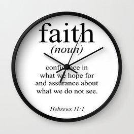 Hebrews 11:1 Faith Definition Black & White, Bible verse Wall Clock