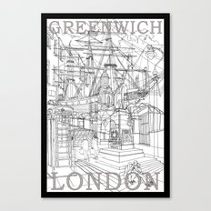 Greenwich London (B&W) Canvas Print