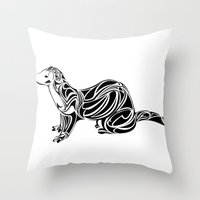 ferret Throw Pillows featuring Ferret Design by Tara Prince