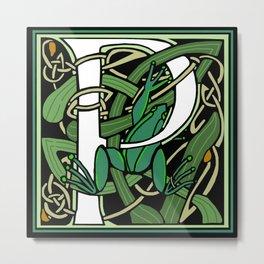 Celtic Nouveau Frog Letter P 2018 Metal Print