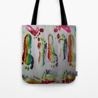 duvet cover Tote Bags featuring FOOTSTEPS DUVET COVER DESIGN by aztosaha