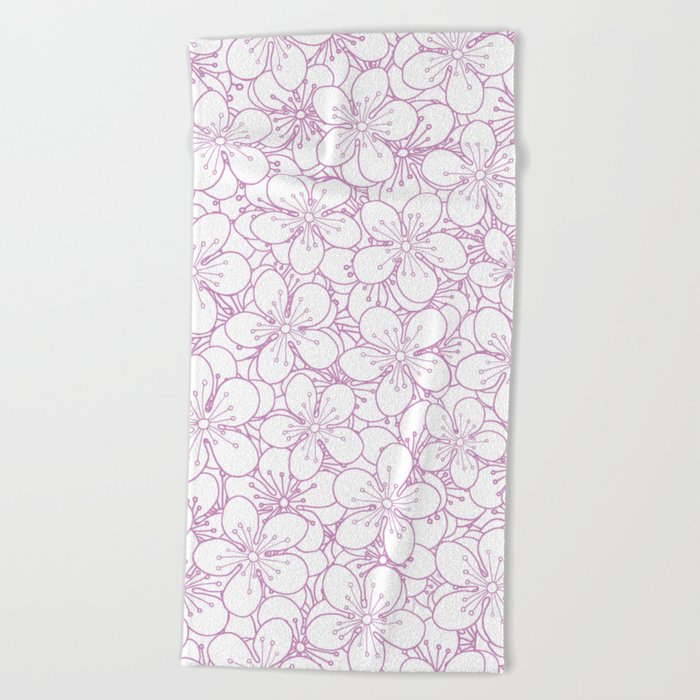 Cherry Blossom Pink Outline - In Memory of Mackenzie Beach Towel