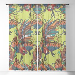 rooster ink chartreuse Sheer Curtain