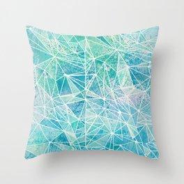 aquamarine with white geometry space Throw Pillow