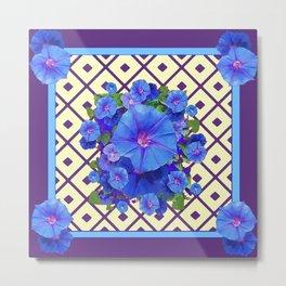 Cream Color Purple Pattern Blue Floral Metal Print