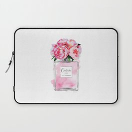 Perfume, watercolor, perfume bottle, with flowers, pink, Silver, peonies, Fashion illustration Laptop Sleeve