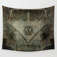 vw bus Wall Tapestries featuring VW Zombiemobile - A killer Zombie bus by Bruce Stanfield