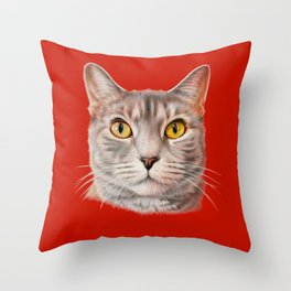 Red cat Throw Pillow