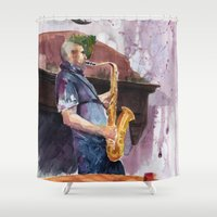 saxophone Shower Curtains featuring Playing saxophone by aurora villaviejas