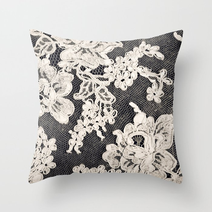 Black and white lace photograph of vintage lace throw pillow