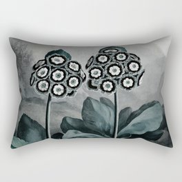 Steel Teal Gray Auricula Temple of Flora Rectangular Pillow