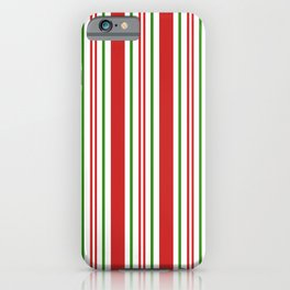 Red Green and White Candy Cane Stripes Thick and Thin Vertical Lines, Festive Christmas iPhone Case
