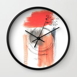 Comfort Zone - A minimalistic india ink and acrylic abstract piece in pink, black, gray, and blue Wall Clock
