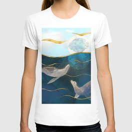 Sea Lions Playing with the Moon - Underwater Dreams T-shirt