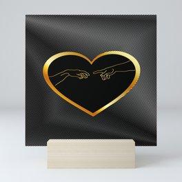 Creation of Adam inside a golden heart and metallic texture Mini Art Print