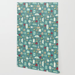 Vintage Kitchen Utensils / Teal Wallpaper