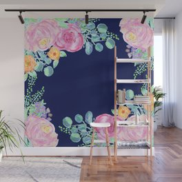 light pink peonies with navy background Wall Mural