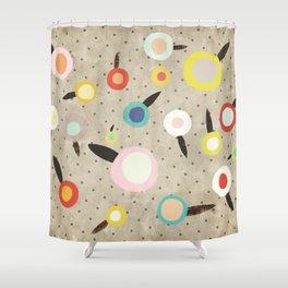 Flowers Vintage Brown Polka dots Shower Curtain