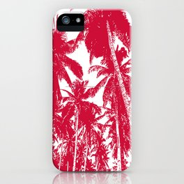 Palm Trees Design in Red and White iPhone Case