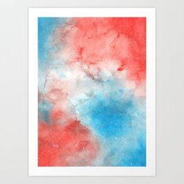 Red & Blue Galaxy Art Print