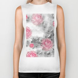 ROSES PINK WITH CHERRY BLOSSOMS Biker Tank