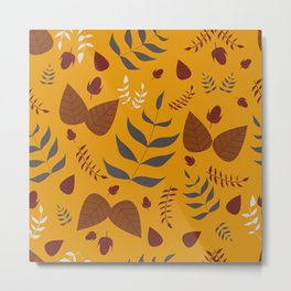 Autumn leaves and acorns - ochre and brown Metal Print