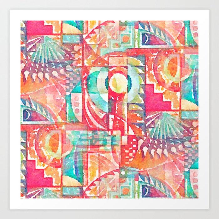 Sunshine Geometry in Watercolor Art Print