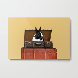 Black and white Rabbit in suitcase Metal Print