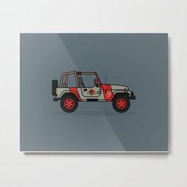 Jurassic Park Jeep Metal Print