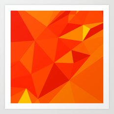 Carrot Orange Abstract Low Polygon Background Art Print